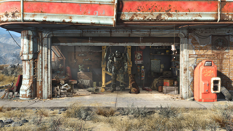 Open garage doors with a power armour suit in view