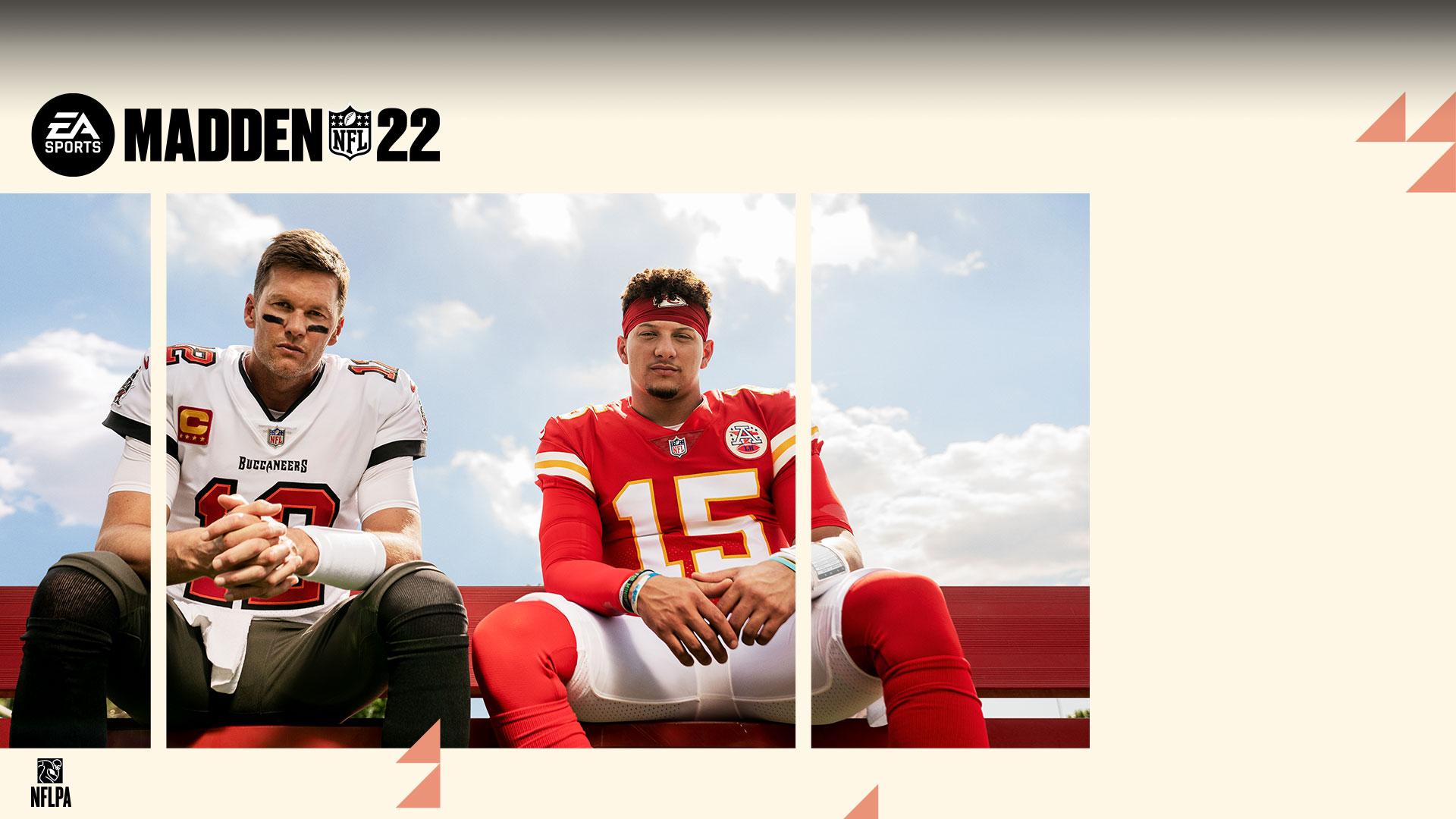 Tom Brady en Patrick Mahomes zitten naast elkaar op een bank, NFLPA, EA Sports, Madden NFL 22