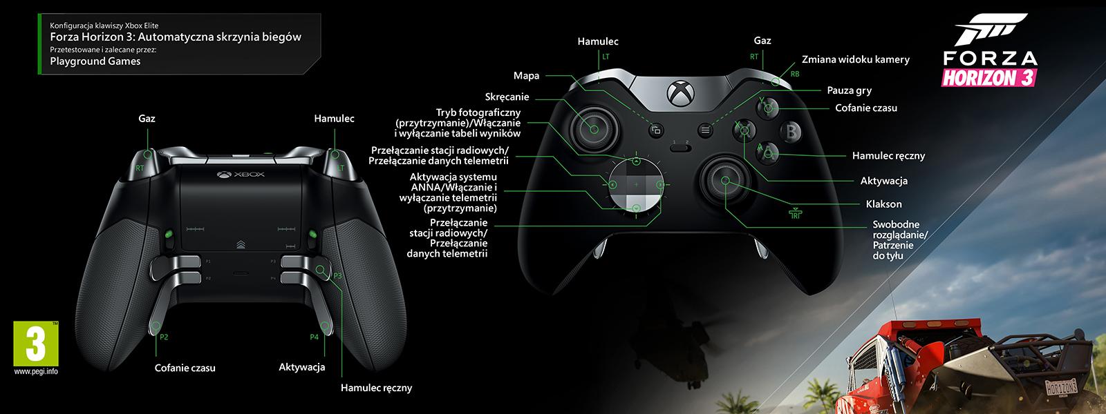 Forza Horizon 3 – mapowanie Elite pod kątem automatycznej zmiany biegów