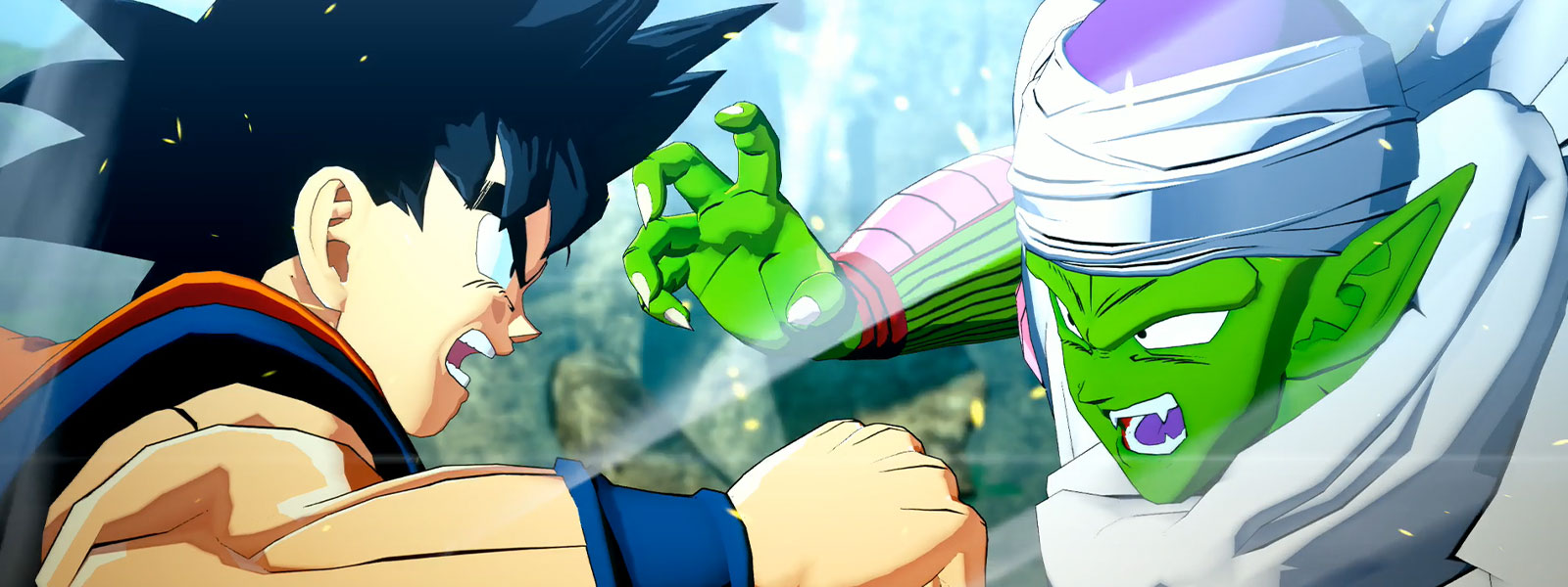 Goku and Piccolo look angrily at each other as they are engaged in battle