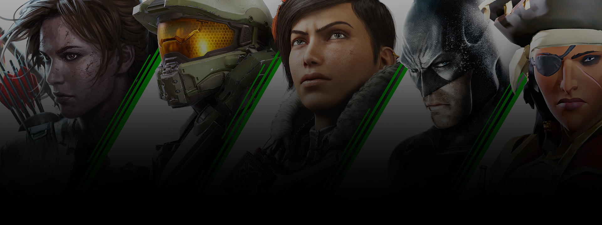 A lockup of characters whose games are available on Xbox Game Pass, including Lara Croft, Master Chief, and more