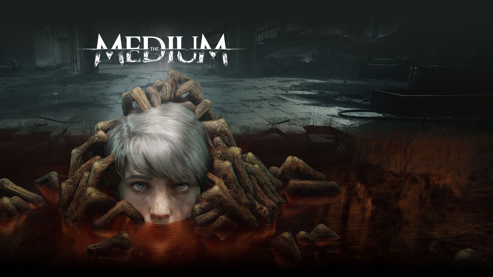 The Medium, a child's head rises from a puddle filled with undead hands.