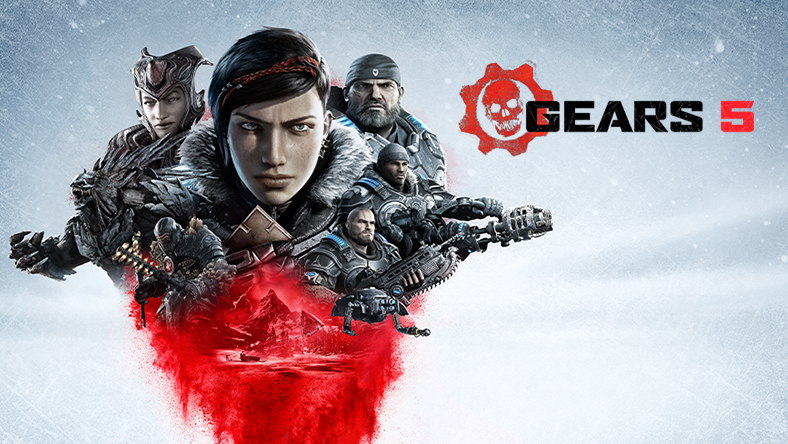 Collage of Gears 5 allies and enemies with Kait Diaz as the focal point