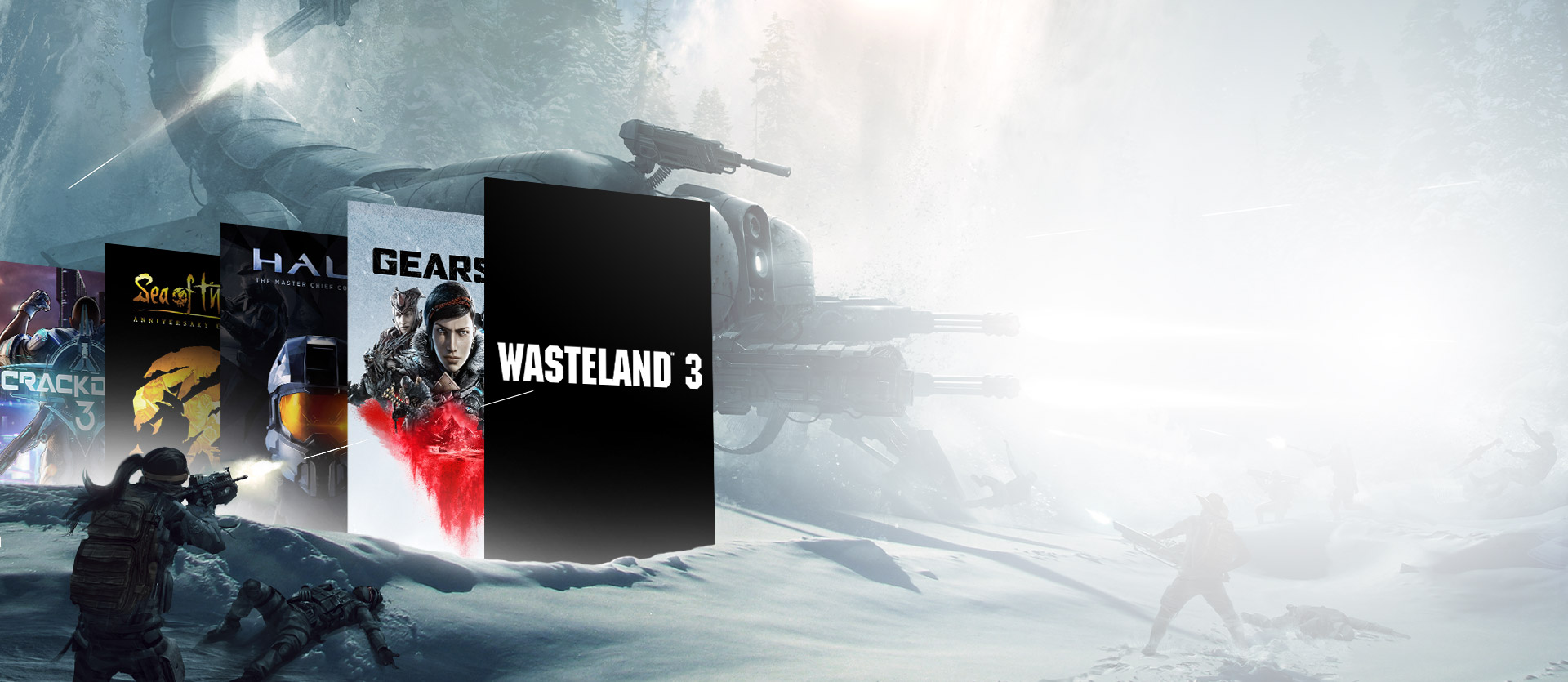 Xbox Game Pass games in a snowfield with a scorpion tank war scene