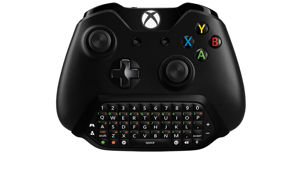 Vista frontal del Chatpad Xbox integrado en el mando