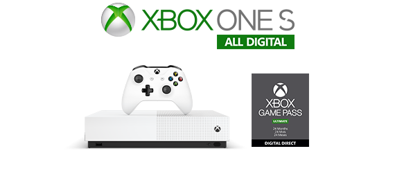 Xbox One S All-digital logo, Xbox One S All-digital console with 24-month Game Pass box