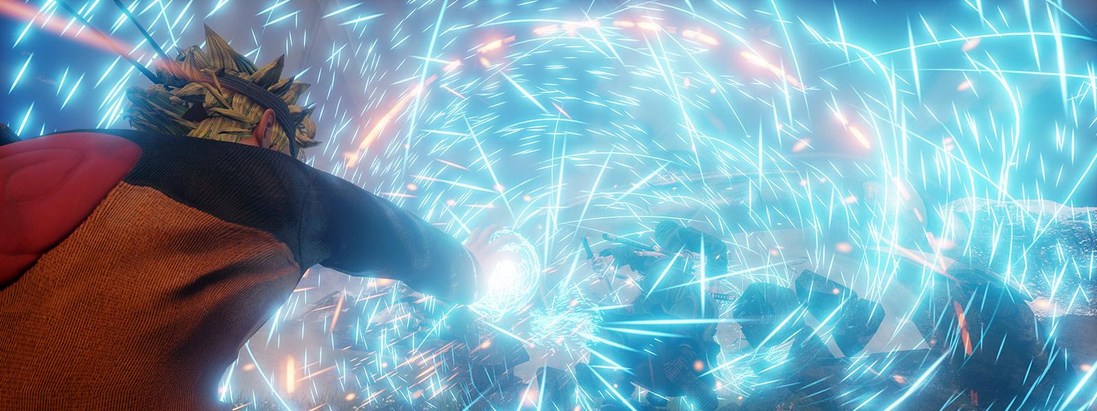 Naruto skyter blå gnister ut av hånden mot fiender