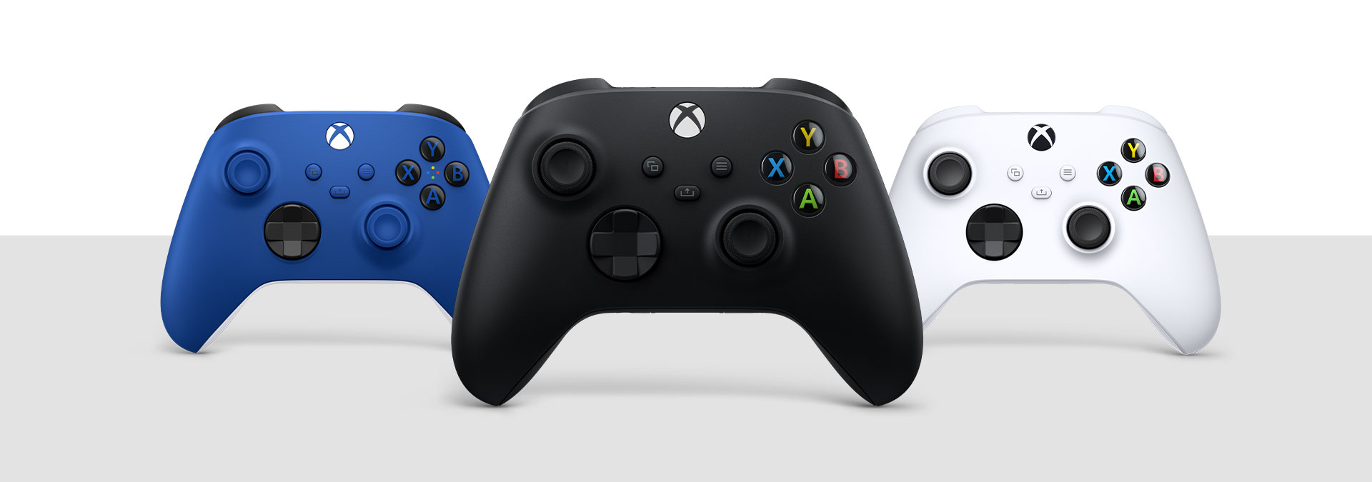 Xbox Wireless Controller Carbon Black, Robot White and Shock Blue