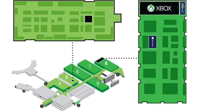 Geometric map of building floor with numbered halls and highlighting the Xbox booth in Hall 8