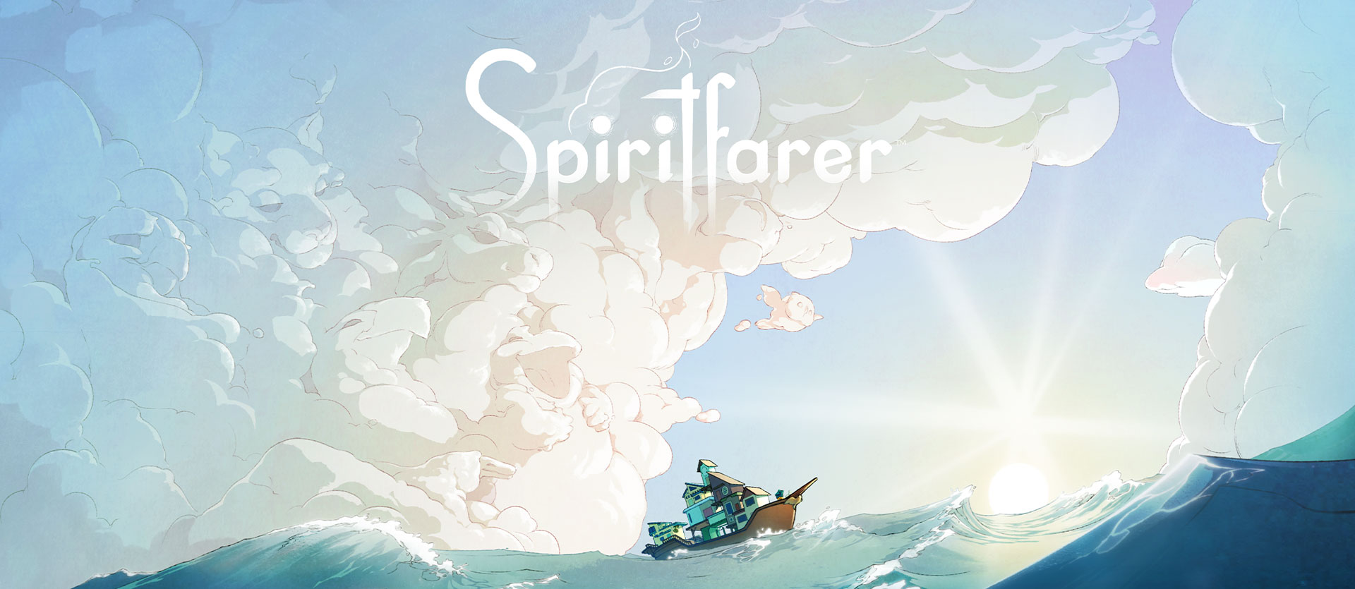 Spiritfarer logo, boat on the water with clouds forming different animals