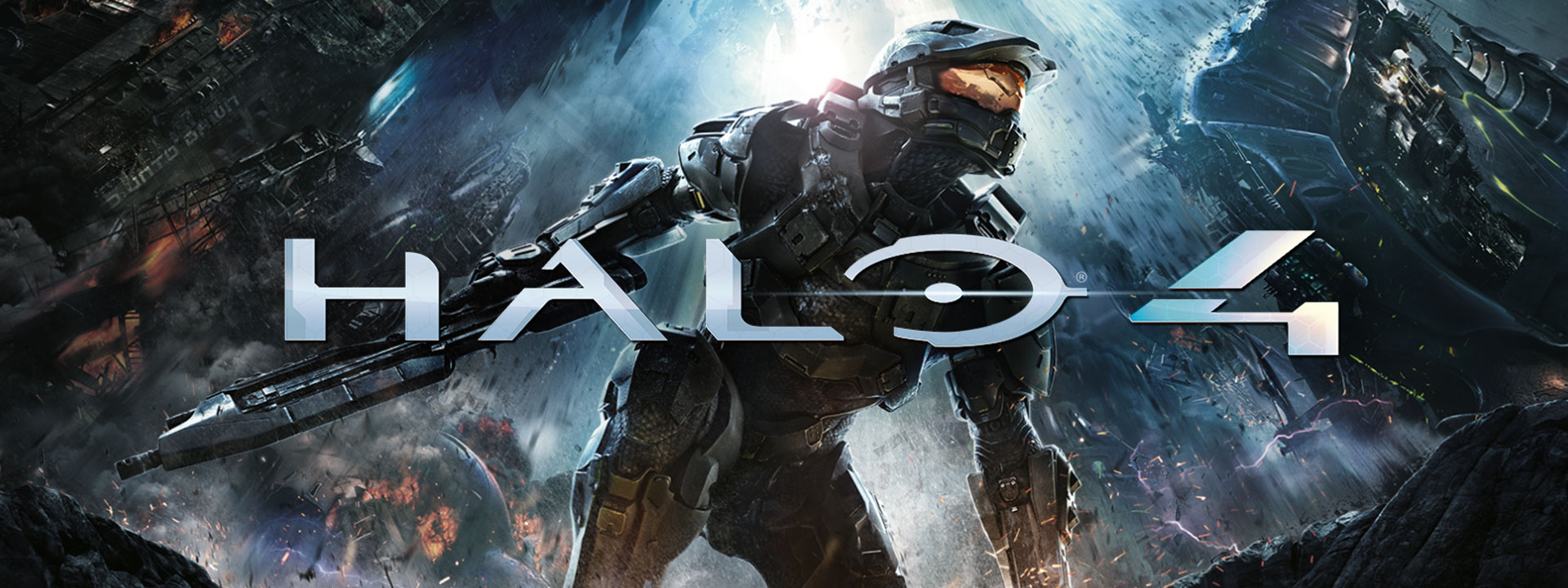 Halo 4, Master Chief crouches with a gun in hand under a crumbling city