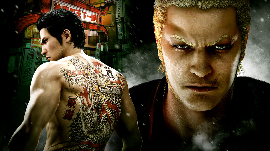 Two Yakuza characters are featured in a gritty nighttime city setting.
