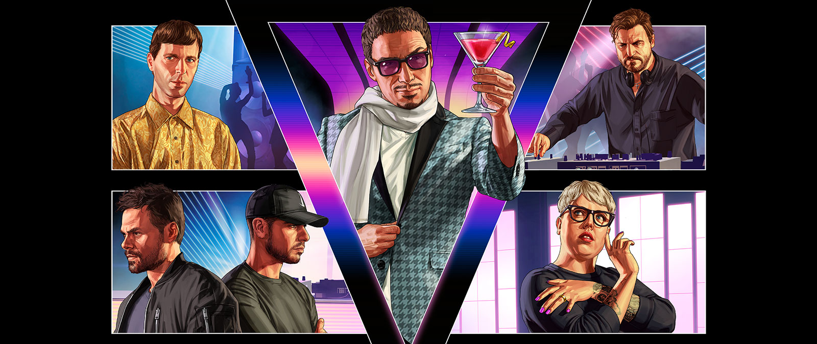 Grand Theft Auto Online After Hours, Collage of multiple characters in a nightclub.