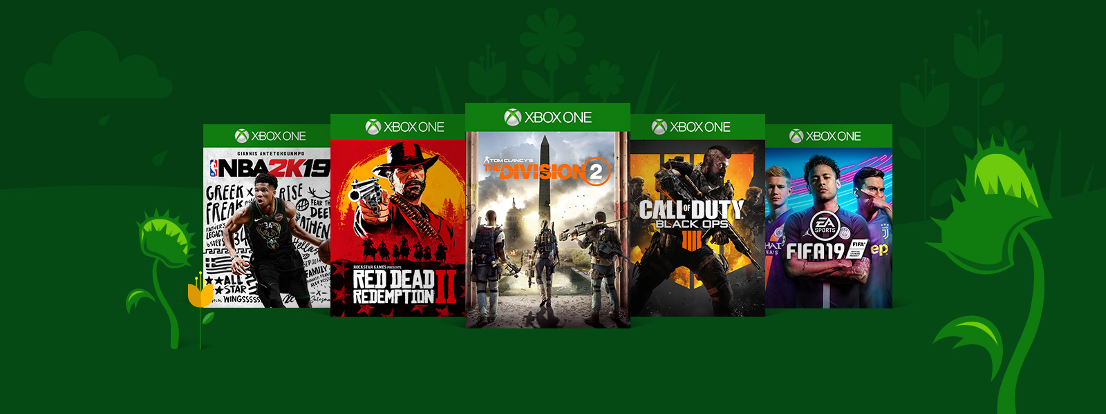 A collage of Xbox One game boxes on a green background with snapping venus fly traps. Featured games are Red Dead Redemption 2, Tom Clancy's The Division 2, and Call of Duty: Black Ops