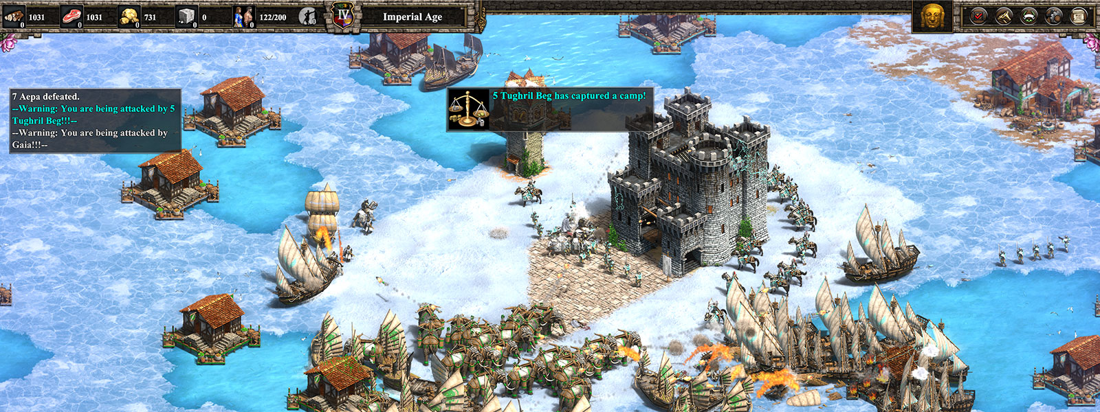 Screenshot of gameplay from Age of Empires II: Definitive Edition. A fight scene in snow and ice.