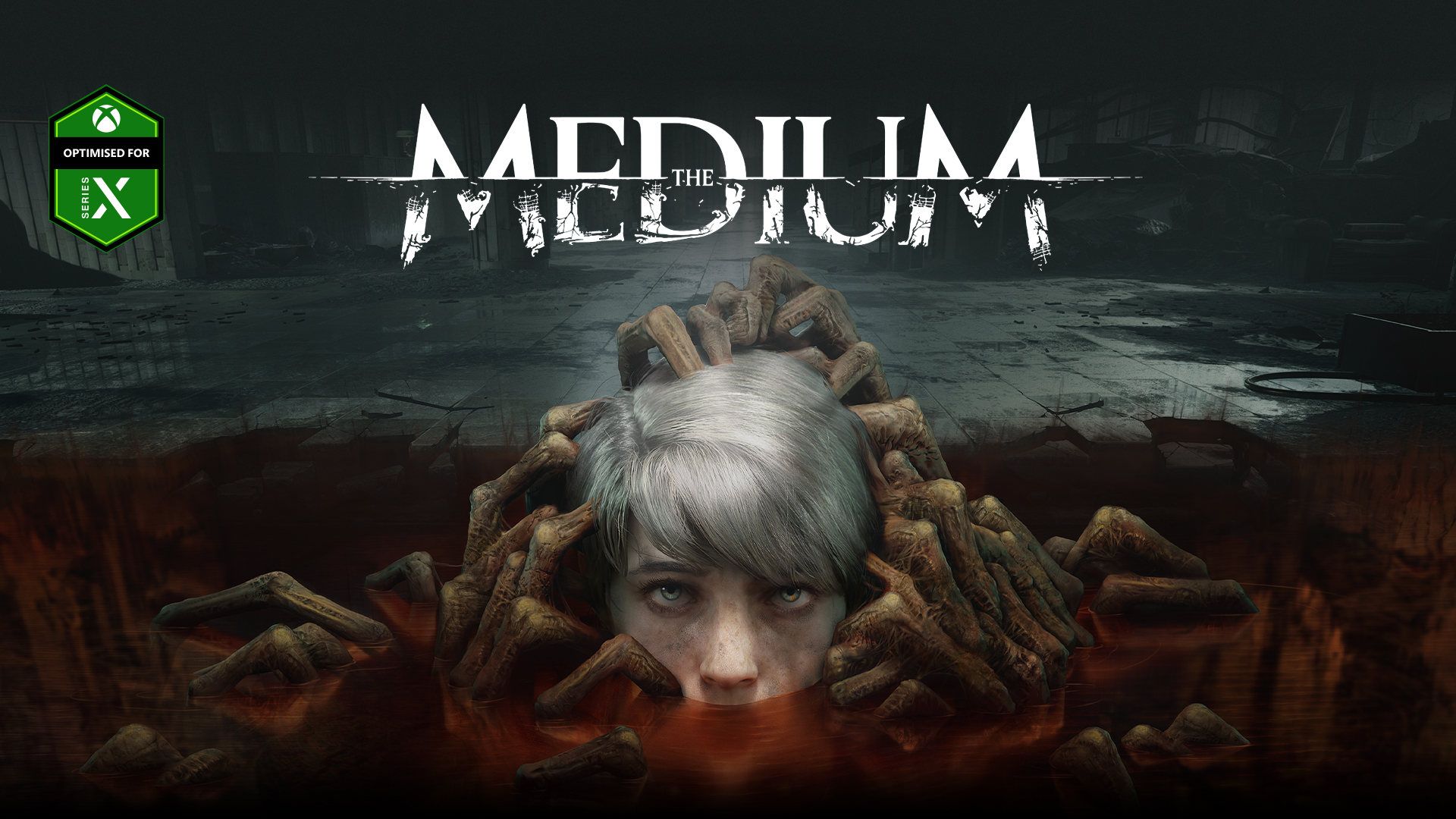 The Medium, Optimised for Series X, A child's head rises from a puddle filled with undead hands.
