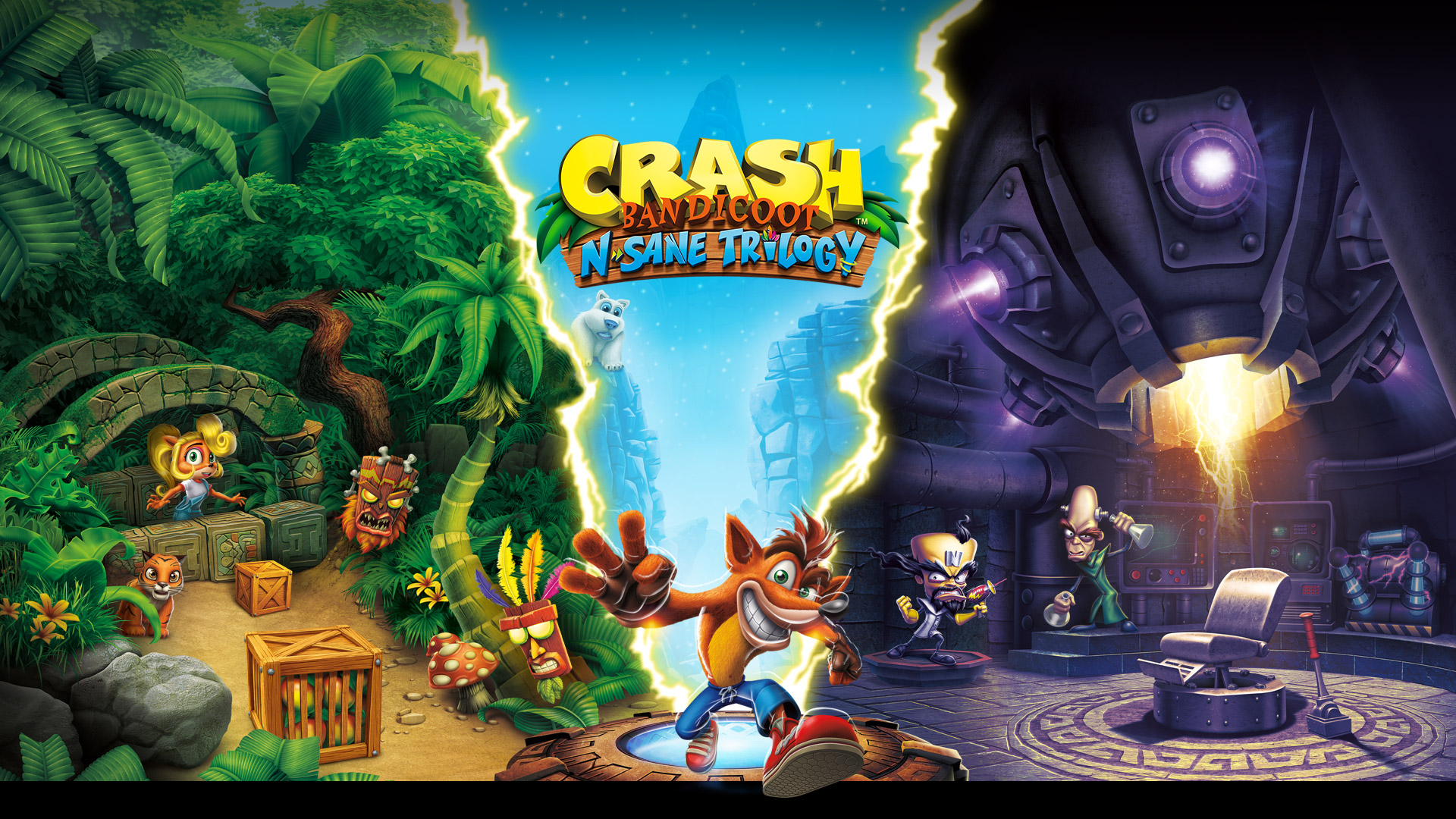 Crash Bandicoot insane trilogy, Crash stands between insanity beach and cortex's lab.