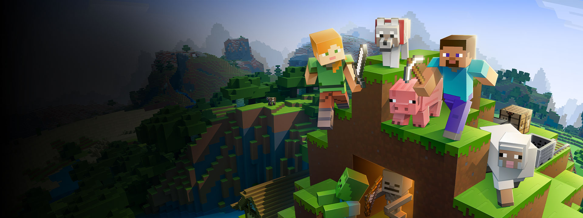 Several characters from Minecraft atop a mountain