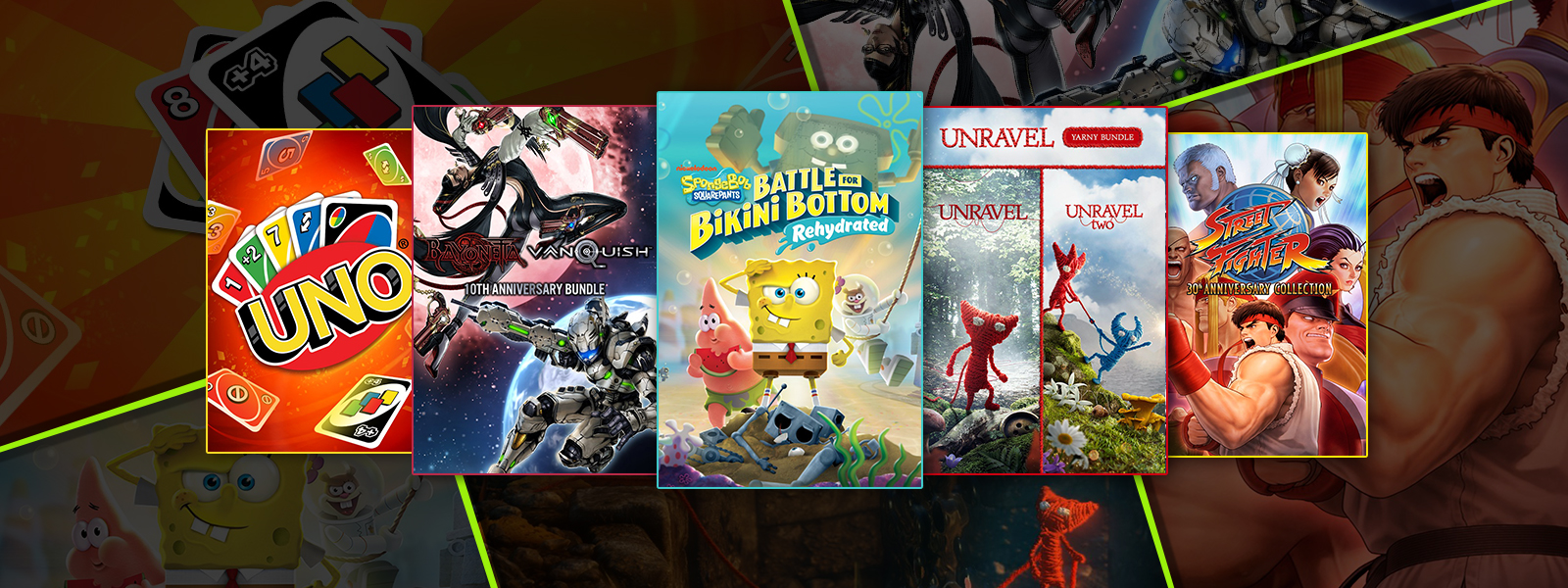 A collection of games that are part of the Retro Fun sale, including Uno, Unravel Yarny Bundle and Street Fighter 30th Anniversary Collection.