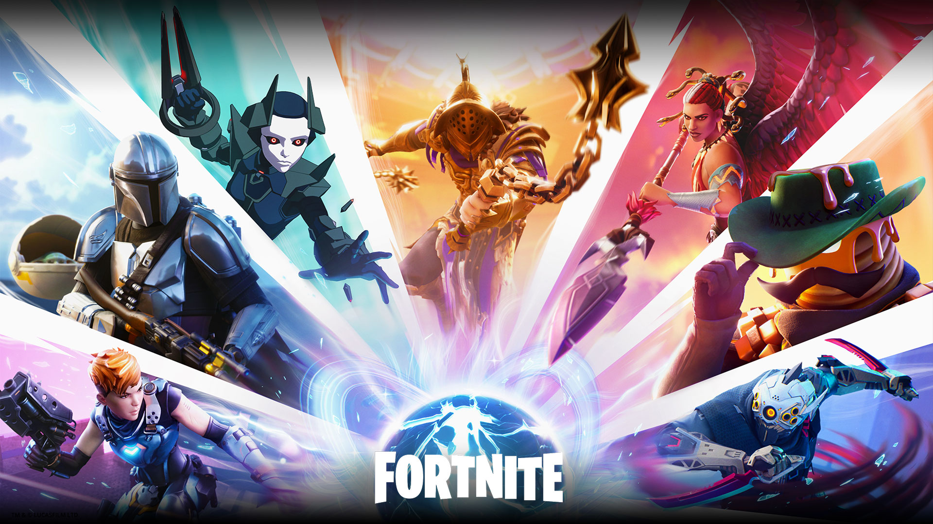 Fortnite, A collage of characters, including The Mandalorian, are all centred around a glowing blue orb.
