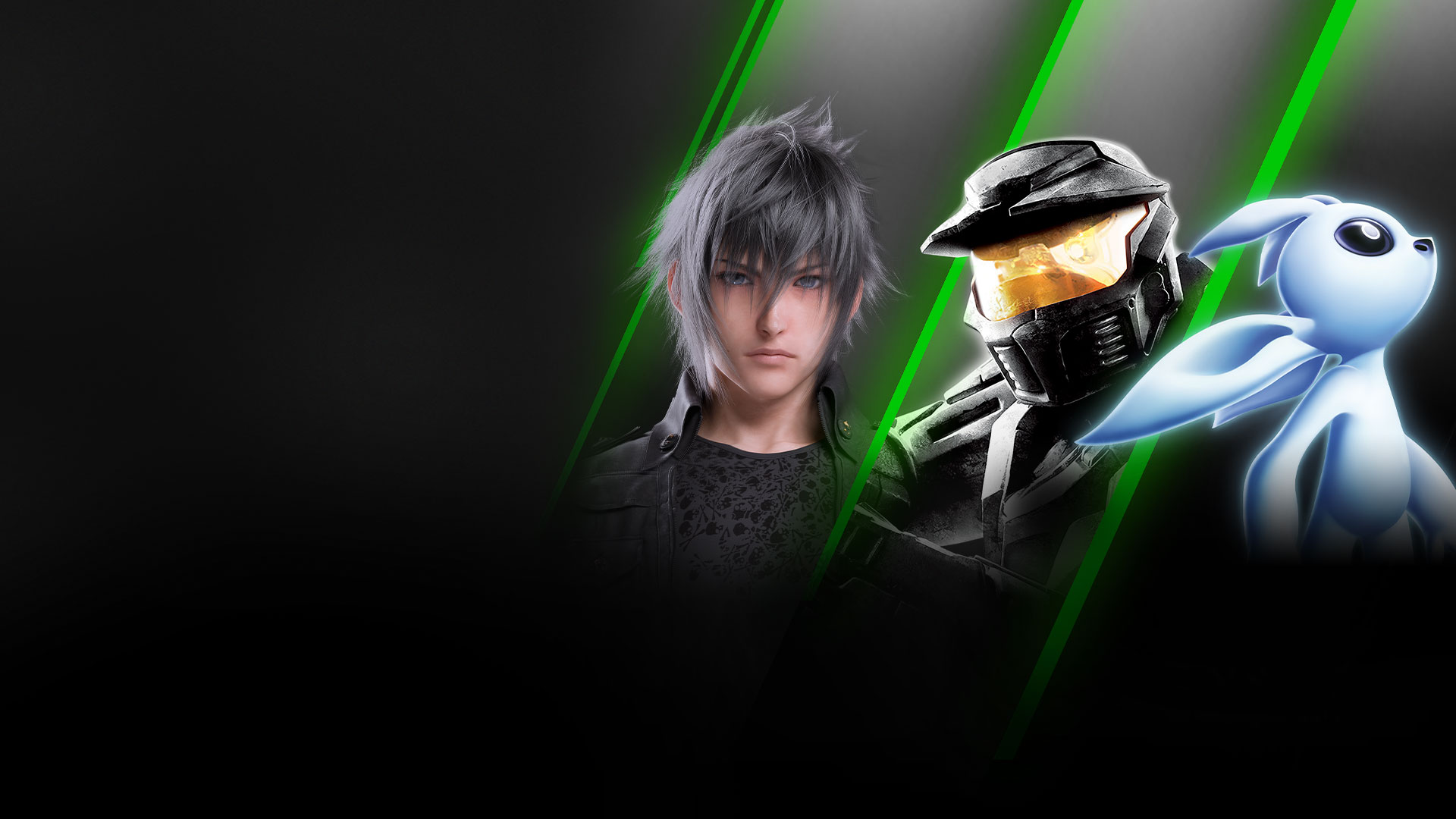 Koláž hier dostupných s predplatným Xbox Game Pass for PC vrátane hier Final Fantasy XV, Halo: Combat Evolved Anniversary a Ori and the Will of the Wisps.