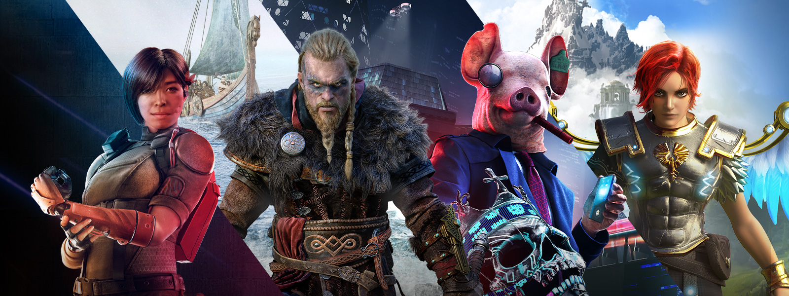 Characters from games that are part of the Ubisoft Forward sale, including Assassin's Creed Valhalla and Watch Dogs Legion.