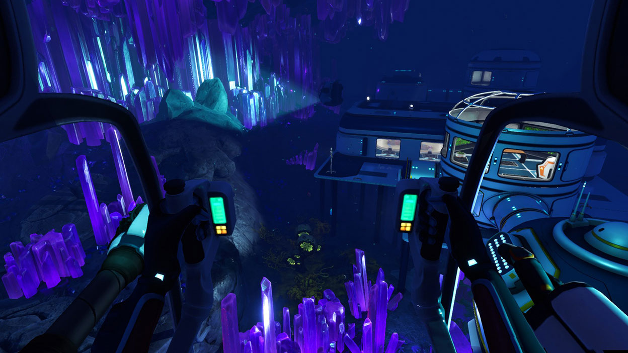 An underwater lab surrounded by glowing purple crystals.