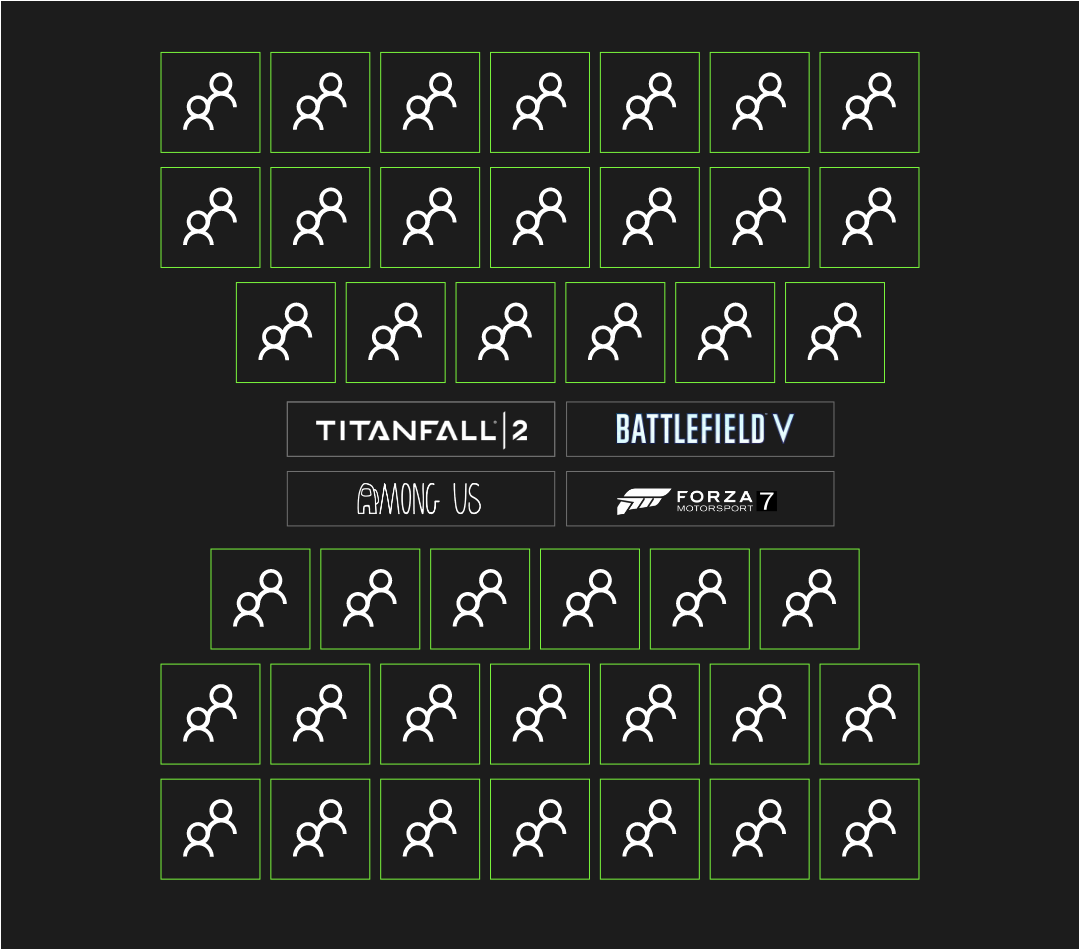 Blocks representing the tournment's 40 teams, above and below logos from Titanfall 2, Battlefield V, Among Us, and Forza Motorsport 7.
