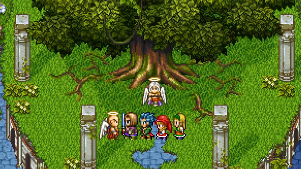 Персонажи стоят у большого дерева в 16-битном режиме