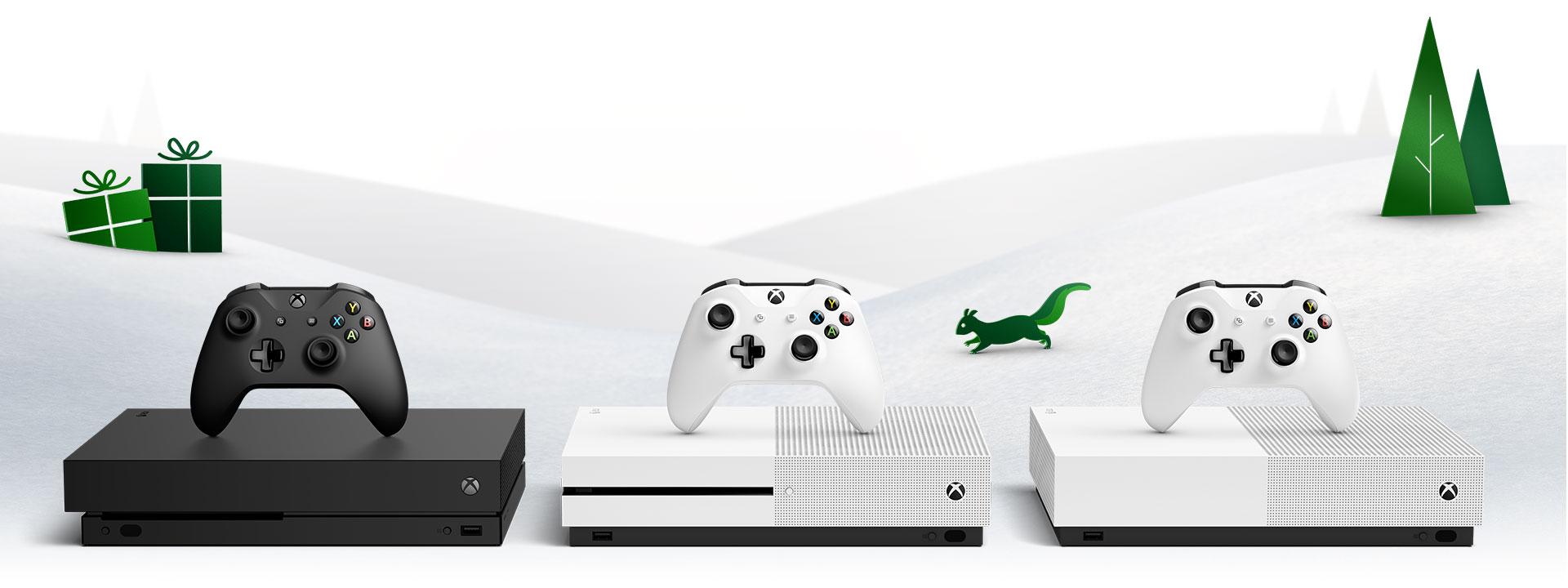 An Xbox One X, Xbox One S, and Xbox One S All-Digital Edition featured in a snowy scene.