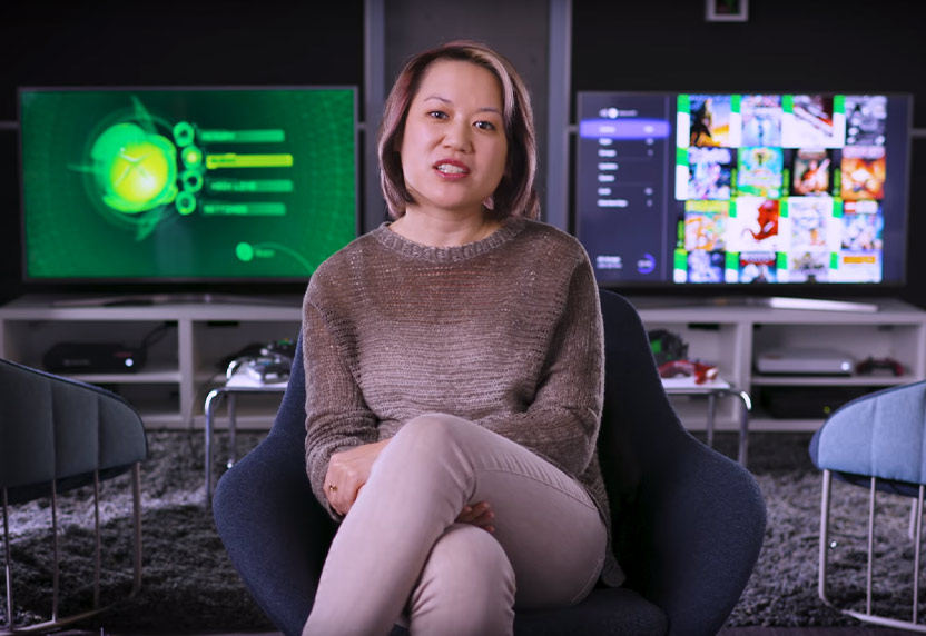 Peggy Lo, lead program manager at Xbox, speaks to the camera