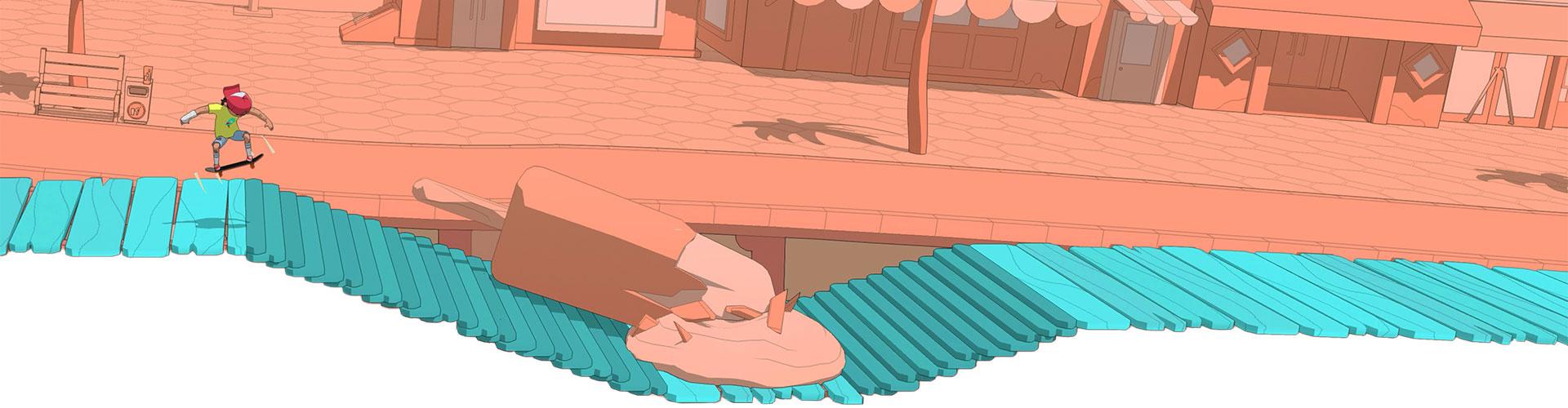 Bir kaykaycı, üzerinde devasa erimiş bir dondurmanın bulunduğu ahşap iskeledeki bir dizi merdivenin üzerinden atlıyor.