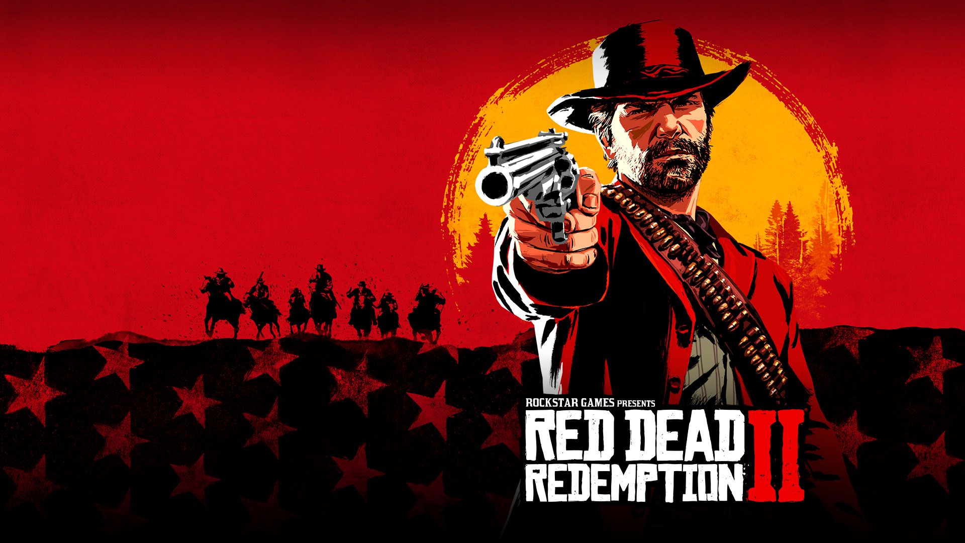 Rockstar Games Presents Red Dead Redemption 2, Artistic rendering of Arthur Morgan pointing a revolver up with a sunset behind them.