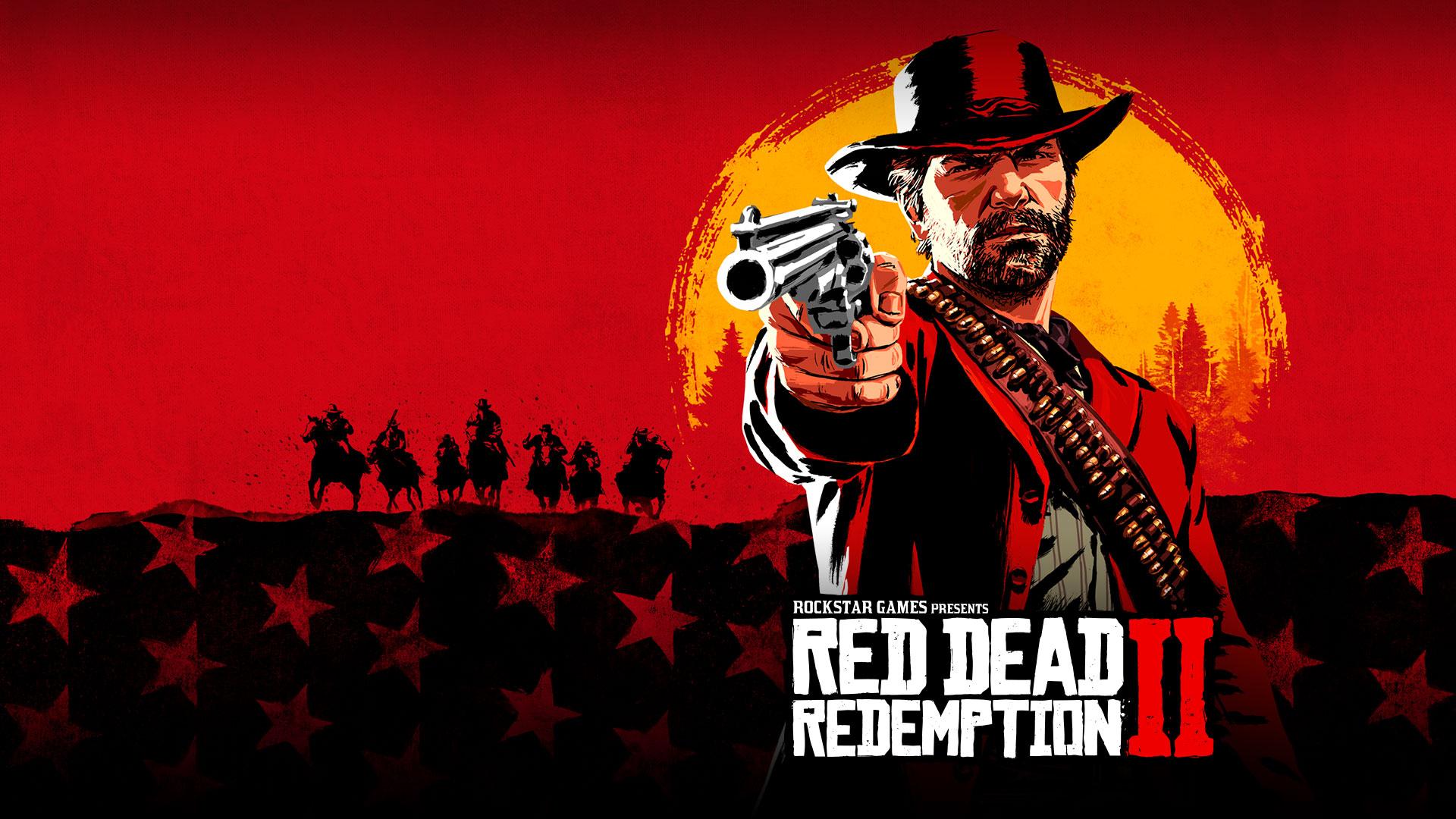 A Rockstar Games Apresenta Red Dead Redemption 2, Composição artística de Arthur Morgan a apontar um revólver com o pôr-do-sol atrás de si.