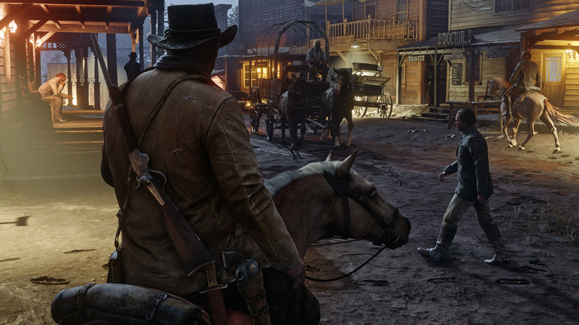 Character on horse in Western town at night