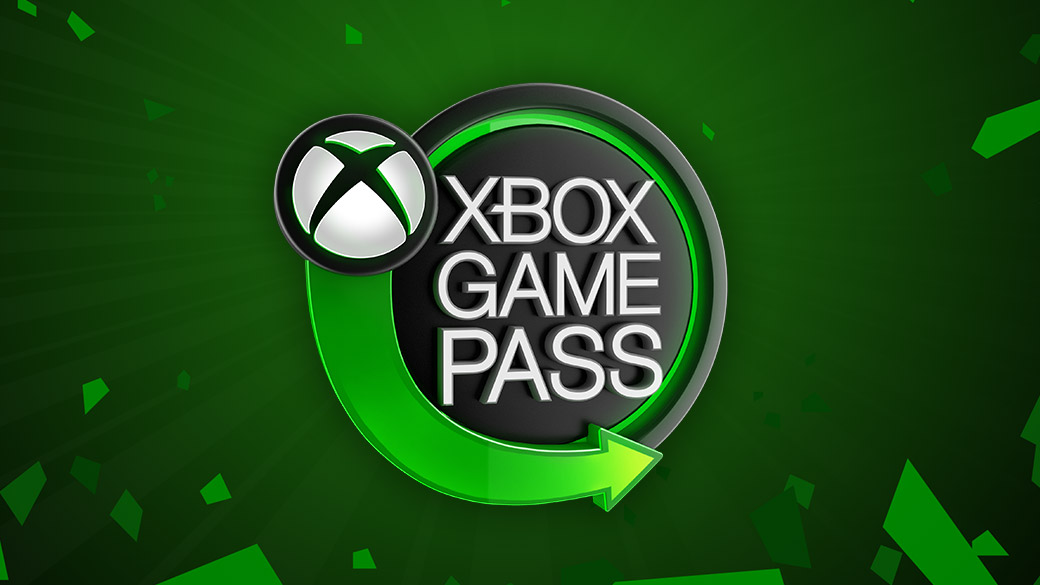 The Xbox Game Pass logo on a green background featuring broken shards of lighter green.