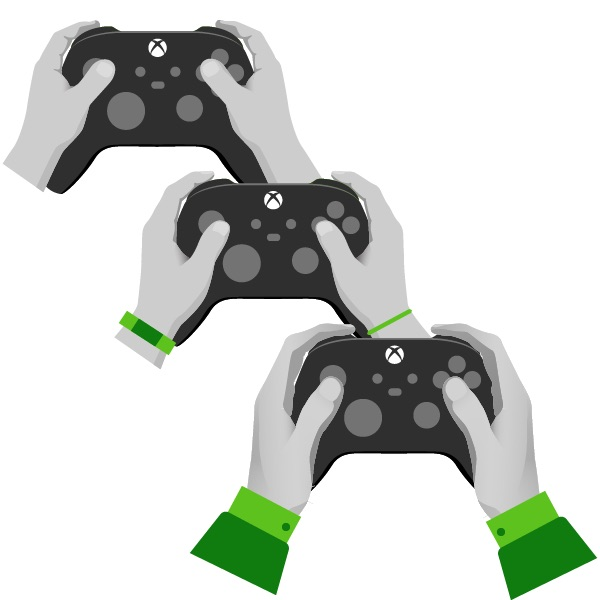 three progressively older sets of hands holding xbox controllers