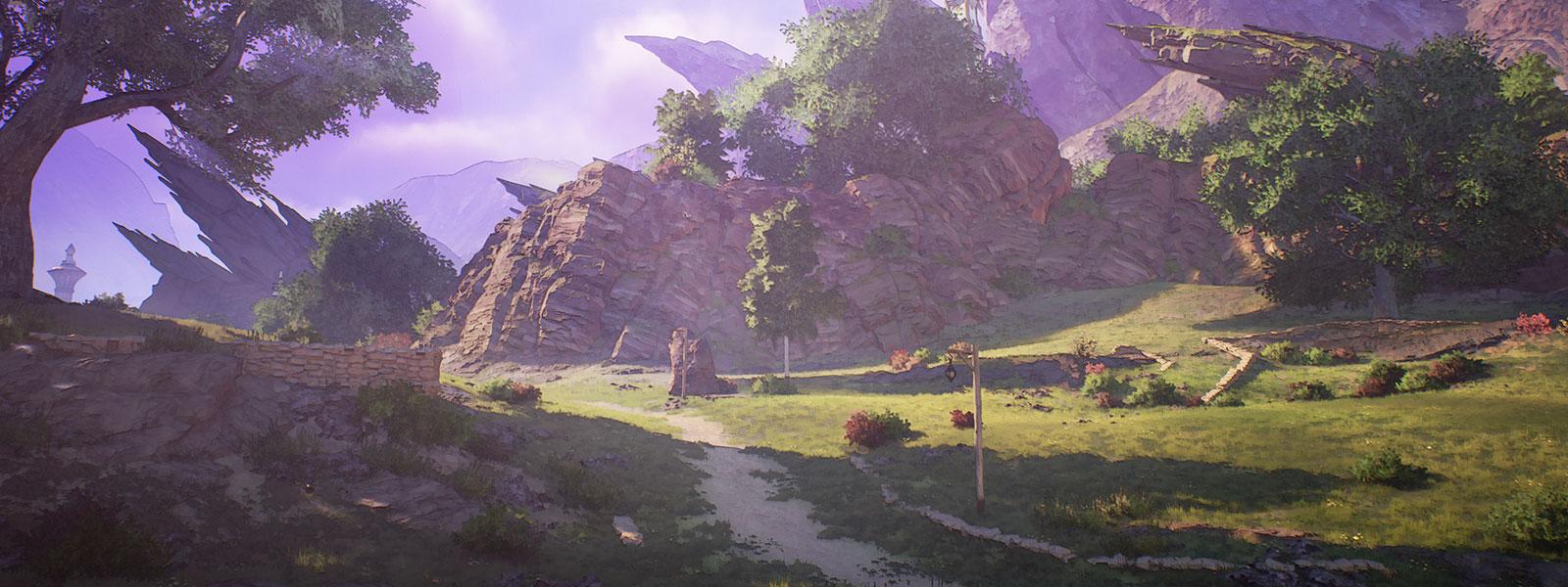 나무와 바위산이 보이는 다져진 길 장면
