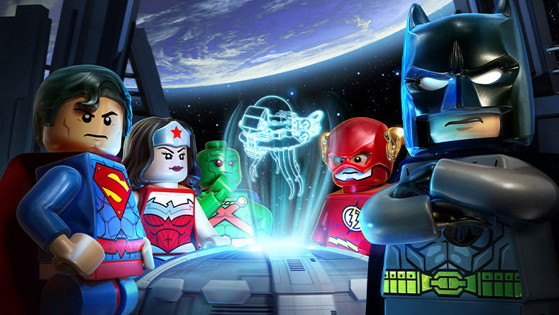 LEGO Batman、Superman、Wonder Woman 和 Flash 一起在太空船上