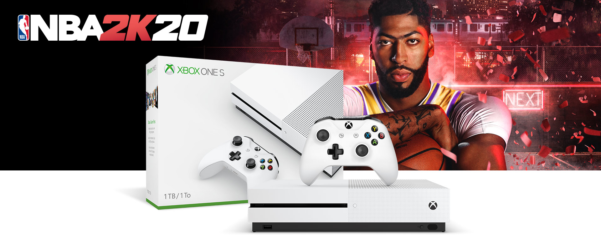Xbox One S console in front of a hardware bundle box featuring NBA 2K20 art