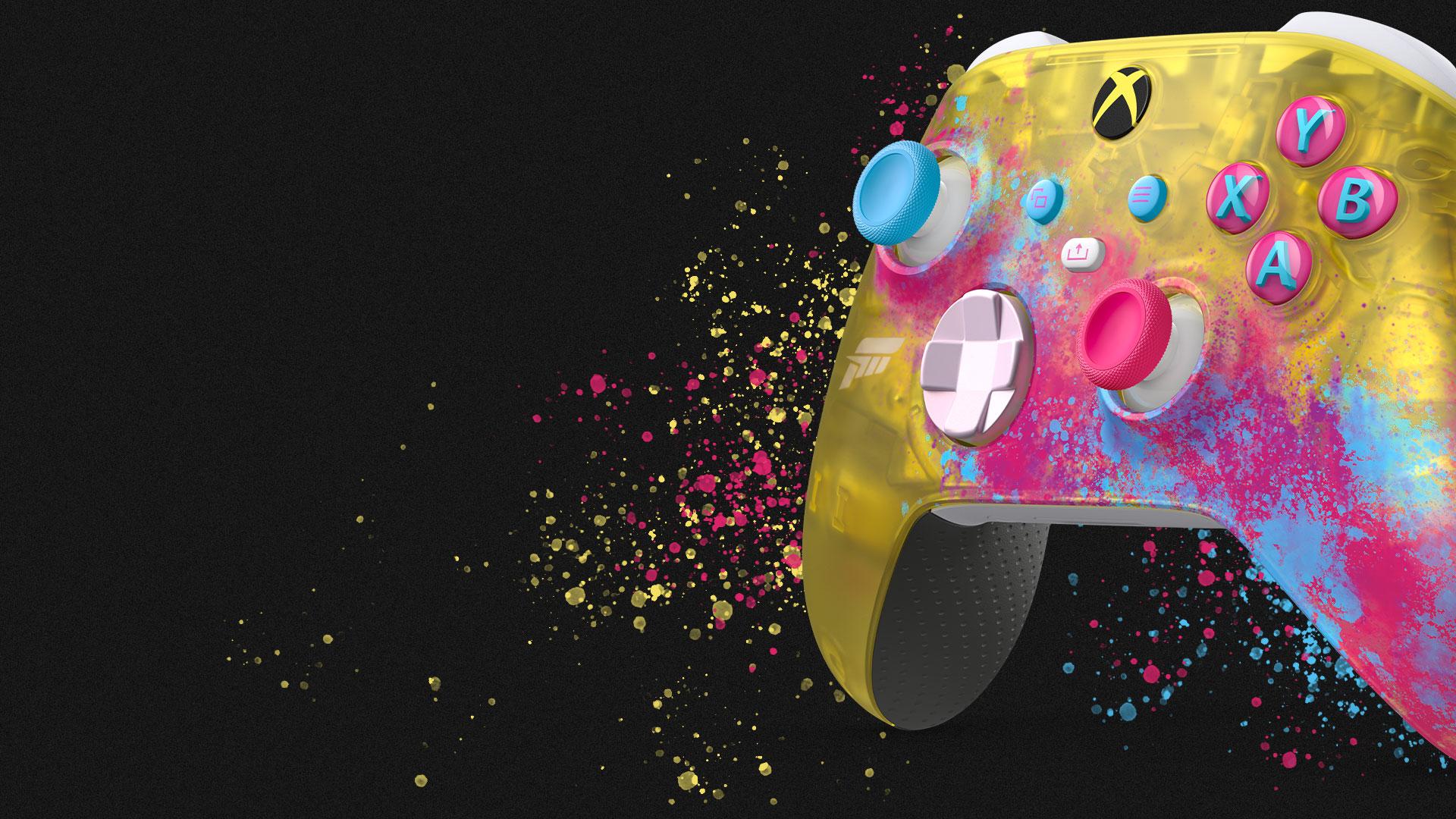 노란색, 분홍색, 파란색 물감이 튄 듯한 무늬가 있는 Forza Horizon 5 전용 디자인 컨트롤러