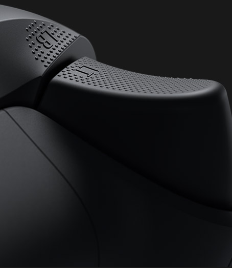 Rear view of the Xbox Wireless Controller with a close-up of the grip texture
