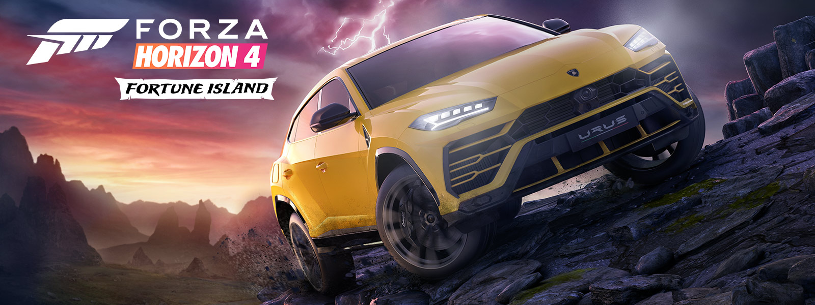 Forza Horizon 4 Fortune Island, a Yellow Lamborghini Urus drives on treacherous terrain with lightning in the background