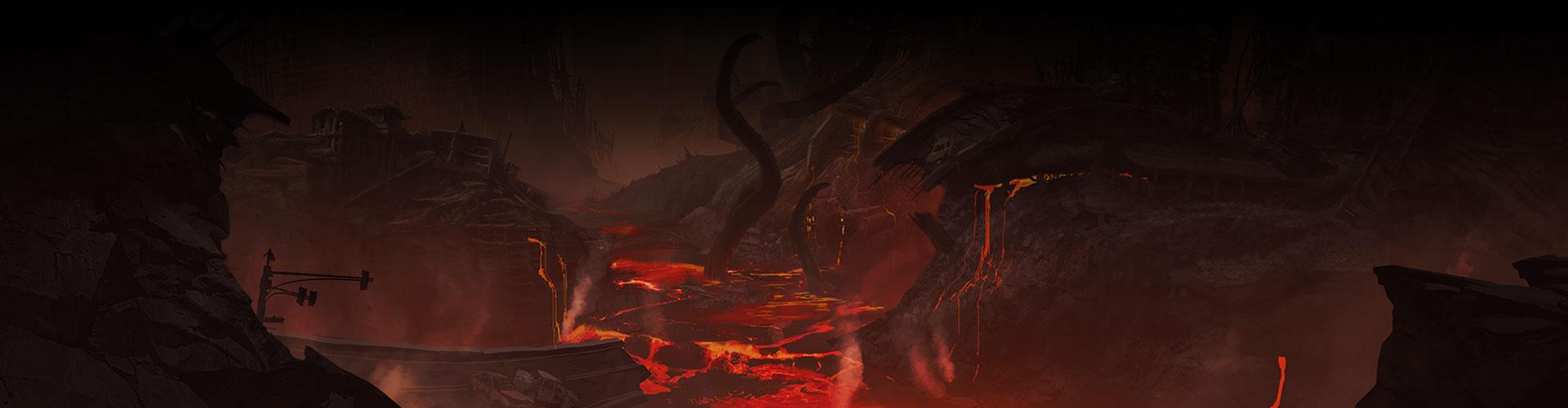 Een verwoeste brug en gebouwen met lava.