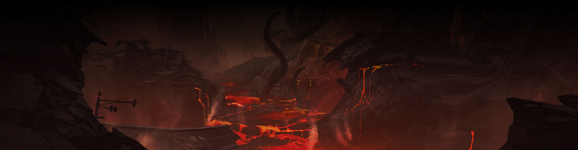 En ødelagt bro og bygninger med lava