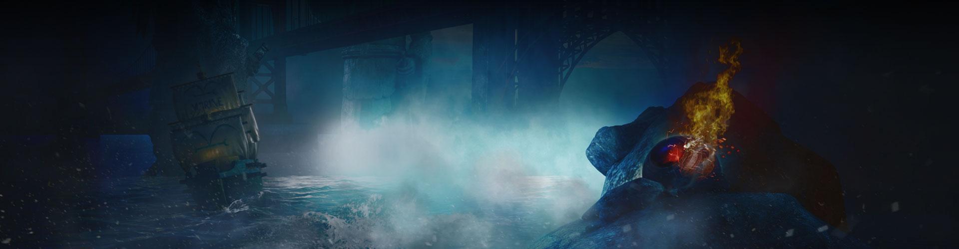 霧は橋の下の水を覆い、船は水の上、未知のアイテムは海岸に衝突