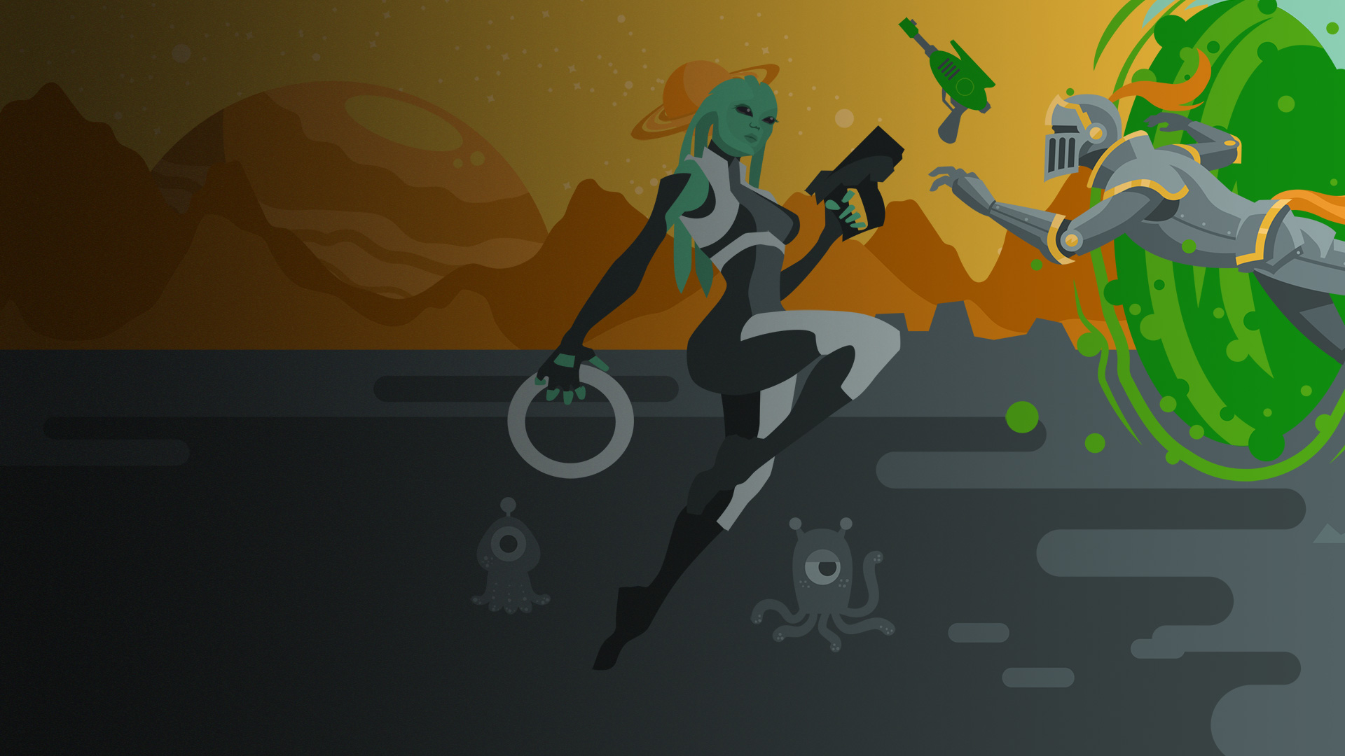 Image of a space Alien wielding a weapon, on a planet and a knight going through a green portal leaving a medieval setting.