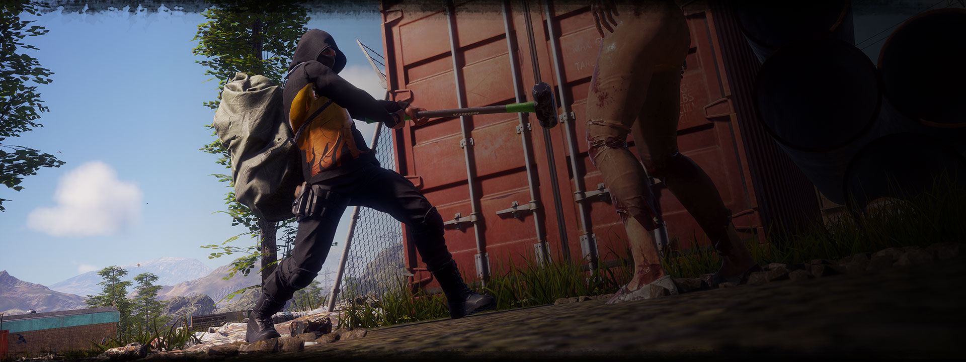 Character from State of Decay 2 swinging a sledgehammer with a zombie in front