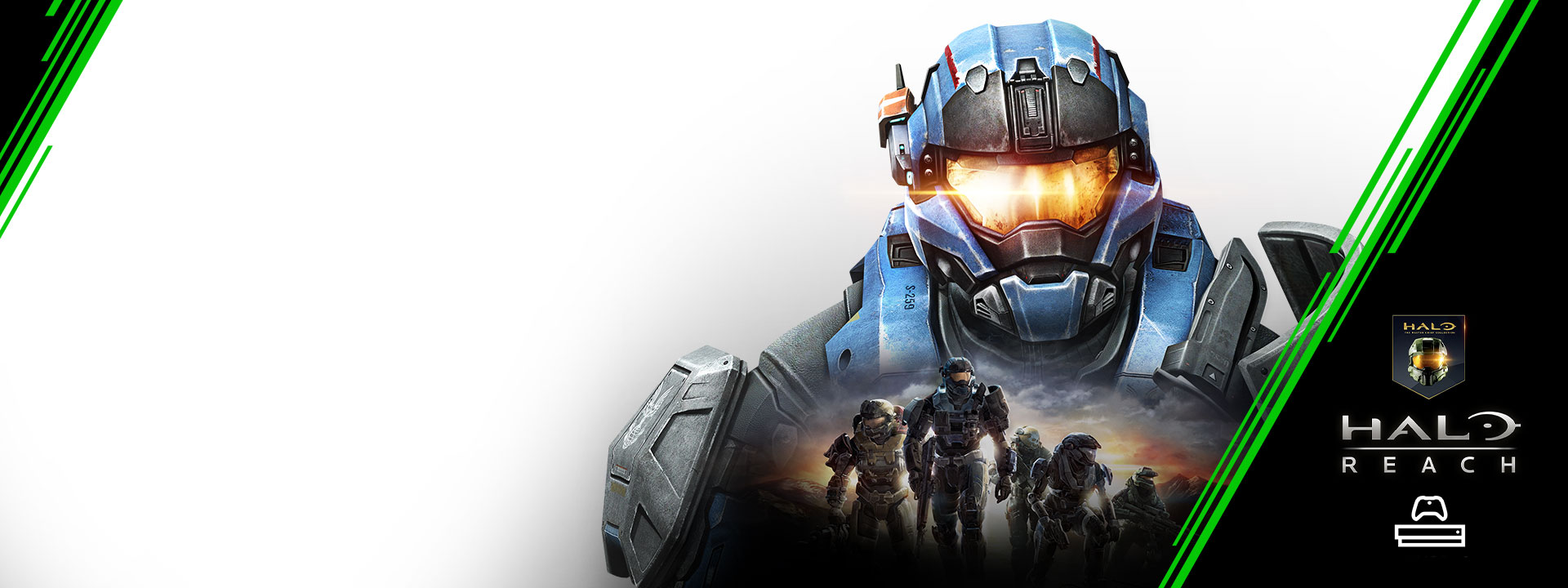 Halo character with a smaller scene of halo characters. Xbox Game Pass logo, console icon, Halo badge, Halo Reach.