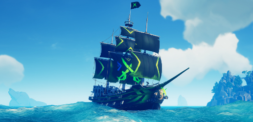 A ship in Sea of Thieves, kitted out with Xbox themed sails